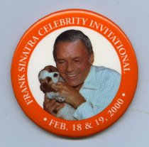 "Image of 2000-Jerry Lewis Celebrity Invitational BUTTON-Round 3"" Orange with image of FS & pup                                                                                                                                                                          - 105-022"