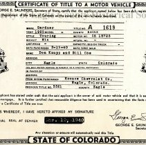 Image of Certificate of title, Gardner Touring automobile