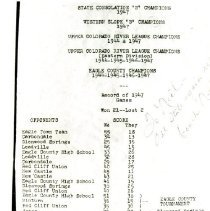 Image of Eagle High School basketball 1947 record of games