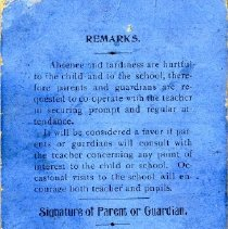 Image of Blanche Gay report card (back)