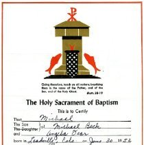 Image of Michael Beck baptismal certificate