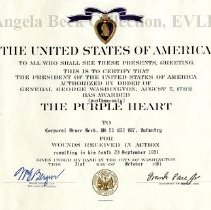Image of Certificate of award, Purple Heart, Bruce Beck
