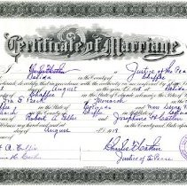 Image of Marriage certificate, Ira Beck and Dessie Tomlin