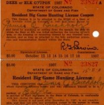 Image of Resident big game hunting license no. 23827