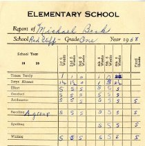 Image of 1st grade report card for Michael Beck