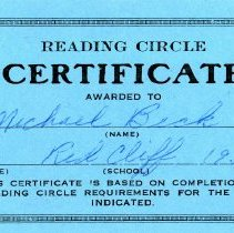 Image of Reading Circle Certificate, Michael Beck