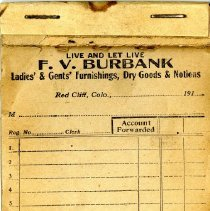 Image of F. W. Burbank account receipt book