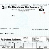 Image of New Jersey Zinc Co. payroll check