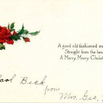 Image of Christmas Card from Mrs. Geo McNab to Mrs. Earl Beck