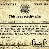 Image of Certificate of furlough, MacDonald Knight