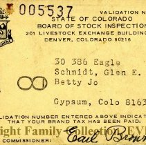 Image of Brand tax validation card for Glen & Betty Jo Schmidt