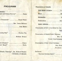 Image of Verso, Graduation Program, Red Cliff High School 1939
