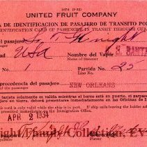 Image of Identification card for T. Knight for passage through Cuba
