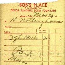 Image of Bob's Place, Minturn, Colo., receipt