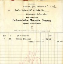 Image of Account statement, Burbank-Collins Mercantile