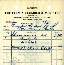 Image of Receipt, Fleming Lumber & Merc. Co.