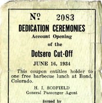 Image of Coupon for barbecue lunch 1934