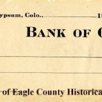 Image of Check, Bank of Gypsum