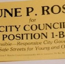 Image of 2001.04.9.1-11 - Political Handout Card; June P. Ross
