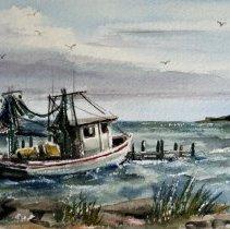 Image of 2008.017 - Watercolor of Texas City Dike