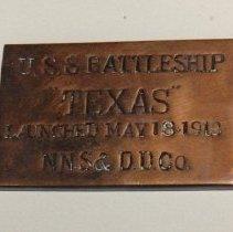 Image of 76.095 - Plaque, USS Texas