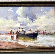 Image of 89.035 - Fisherman and Skiff; Galveston Beach Sce
