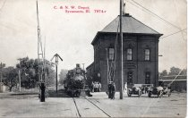 Image of Postcard - Chicago & North Western depot and train