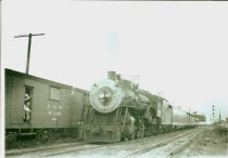 Image of C. G. W. Engine #740 in Forrest Park, IL, June of 1948 - Photograph