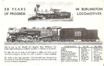 Image of Postcard - Burlington Locomotives 1882-1933