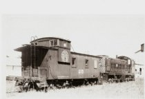 Image of C. G. W. Engine #14 and Caboose #25 at Sycamore, 1949 - Photograph