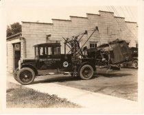 Image of Tow Truck & Car, circa 1920's - Photograph