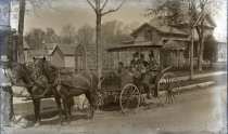 Image of Negative, Glass Plate - Horse and buggy with Boynton Family
