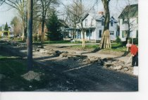Image of Center Cross Street, Sycamore, Illinois removal of Interurban Railroad - Photograph