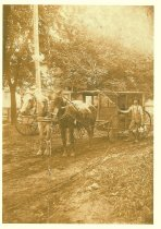 Image of Wagon, driver and two horses used for deliveries - Photograph