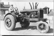 Image of Farm tractor - Photograph, Black-and-White