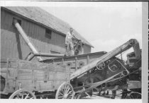 Image of Machinery powered by steam putting a harvested crop in a barn - Photograph, Black-and-White