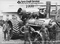 Image of Steam powered tractor - Photograph, Black-and-White