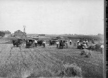Image of Farm field with many carriages and a harvesting machine - Photograph, Black-and-White