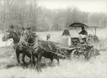 Image of Farm field being tilled by a steam engine pulled by horses - Photograph, Black-and-White