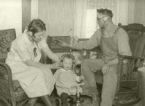 Image of Family listening to a radio - Photograph, Black-and-White