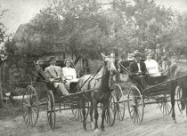 Image of Two carriages with passengers being pulled by horses - Photograph, Black-and-White