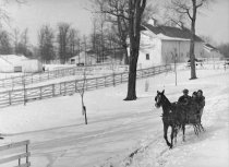 Image of Family in a sleigh being pulled by a horse - Photograph, Black-and-White