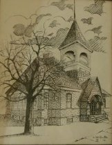 Image of Drawing - Drawing of South School, Sycamore Illinois