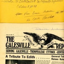 Image of Galesville Republican Article. October 1, 1981, Subject: Edit Barlett