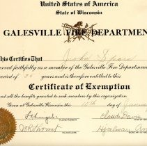 Image of Cert. of Exemption, Galesville Fire Dept.