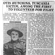 Image of Copies - Letter & Newspaper Article, Otis Hutchins, W.W. I Veteran