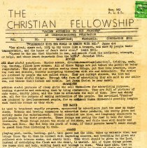 Image of Newsletter: The Christian Fellowship 1944-1945