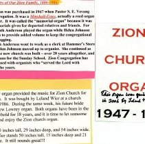 Image of Zion Lutheran Church Organ. Donated to O