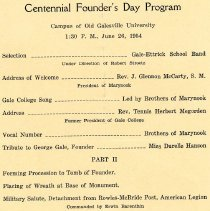 Image of Centennial Founder's Day Program, June 26, 1954