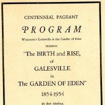 Image of Centennial Pageant Program June 25,26,27, 1954.